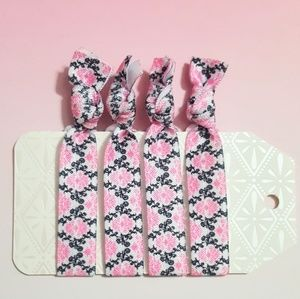 Set of 4 Neon Pink Black Floral Damask Hair Ties